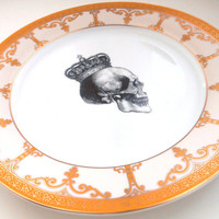 NEW Pink and Gold Skull Plates, Dinner Soup or Salad Dish.  Foodsafe, Available Without Decal or Customized
