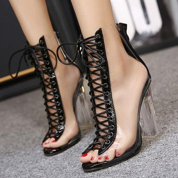 Fashion Women Sexy Strappy High help Fish mouth Heels Shoes Sandals Shoes