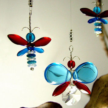 4th of July Decor Red White Blue Butterfly Mobile Crystal Suncatcher Glass Angel Xmas Ornament Window Charm Whimsical Kids Hanging Mobile