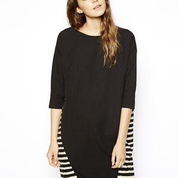 ASOS Batwing Shift Dress With Stripe Back - Black