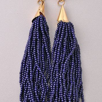 RIO BEADED TASSEL EARRINGS - NAVY