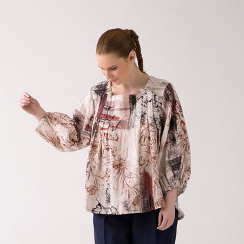 Sue Pleated front, Square Neck blouse