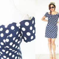 Vintage 60's 70's off shoulder scallop collar polka dot pin up bombshell navy dark blue knee length mini Size 8-10 medium