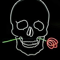 Skull with Rose Neon Light Sign