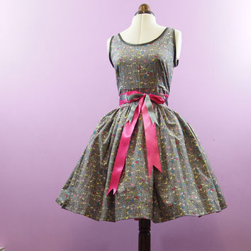 Grey Bird Print Party Dress READY TO WEAR Size S / by makemeadress