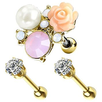 BodyJ4You 3PCS Tragus Piercing Flower CZ Stud Earring Ball 16G Goldtone Surgical Steel Helix Ear Barbell