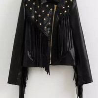 Black Stars Rivet Fringed Cropped Long Sleeve Jacket