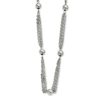 Multi-Strand with Beads Necklace in Stainless Steel - Lobster Claw Cable Chain