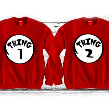 "Thing1 Thing2 ""Cute Couples Matching Crewnecks"""
