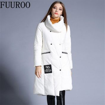 Women 90% White Duck Down Coats Winter Snow Warm Thick Loose Overcoats Ladies Slim Fit Long Trench Coat W4163-European Size