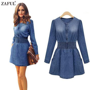 ZAFUL Spring Autumn Denim Dress Women Loose Casual Long Sleeve Tunic Slim Plus Size Jeans Cowboy Bodycon Dresses Female Vestido