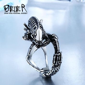 Beier 316L Stainless Steel Alien Predator Finger Rings For Men Gothic Style Movie Jewerly BR8-358
