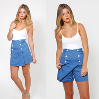 Vintage 60s SAILOR Shorts / Skort Blue Chambray NAUTICAL Skort ROCKABILLY Mini Skirt Shorts