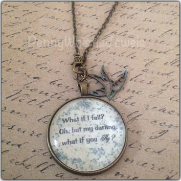 What If I Fall Quote Necklace, Quote Jewelry, Quote Pendant, Handmade Necklace, Vintage Inspired Necklace
