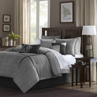 Madison Park Connell Comforter Set, Queen, Grey