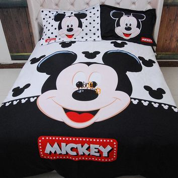 Home textiles adult kids Boys Disney mickey mouse 3d bedding set Queen King size comforter Cover set/bedroom sets