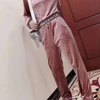"""""""LOUIS VUITTON"""" Woman's Leisure Fashion Letter Personality Printing Velvet Long Sleeve Tops Trousers Two-Piece Set Casual Wear"""
