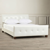 Full Modern White Faux Leather Platform Bed with Padded Headboard and Footboard