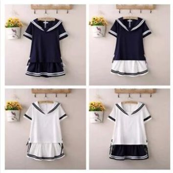 2016 Hot sale Free Shipping Sailor Girl Adult Ladies Fancy Dress Costume Sailor Uniform Navy Costume Student uniform