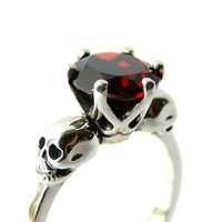 Skull Jewel Ring Silver Red Garnet Stone Skull Ring Goth Engagement Blood Red Gemstone Ring Memento Mori Womens Ring Size 6.5 Psychobilly