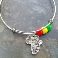 Africa, Map, beaded Adjustable Bangle