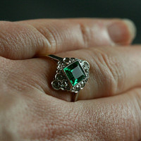 Antique Emerald And Diamond Engagement Ring by Ruby Gray's | Ruby Gray's
