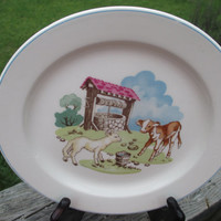 Vintage Copeland Spode Childs Plate--Pets Farm 03363--England--Mid Century--Nursery Decor--Baby Shower Gift--Cottage Chic