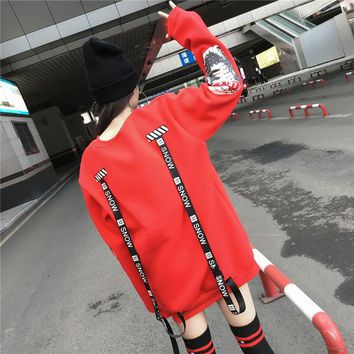 Women Oversized Harajuku Letter Print Ribbons Hoodies Extra Long Sleeves Loose Sweatshirt And Pullovers Korean Bts Kpop Clothes