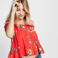 smocked button front off the shoulder blouse