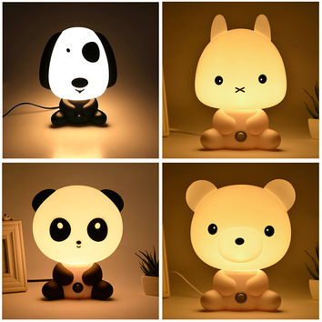 Night Lovely Sleeping Lamp Baby Room Panda Rabbit Dog Bear Cartoon Light Kids Bed Lamp for Gifts EU Plug LS
