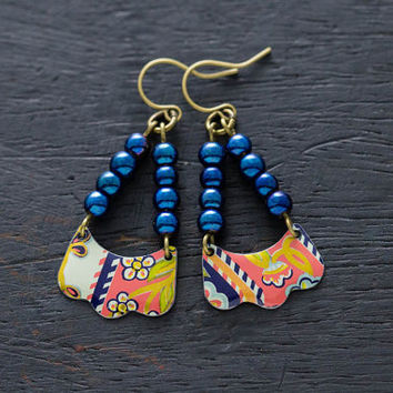 Colorful Bohemian Vintage Tin Earrings with Metallic Cobalt Blue Beads, Daher Vintage Tin, Upcycled Jewelry, Colorful Jewelry