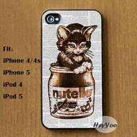 Cat in Nutalla phone cases, iPhone 4 case, iphone 4s Case, iPhone 5 case, pihone 5s case, iphone 5c case, Ipod Touch 4 5 Case, ipod case
