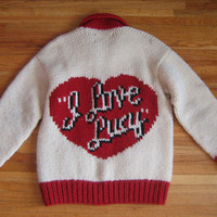 HEY LUCY Novelty Cowichan Cardigan 50s style Vintage I Love Lucy Sweater   Rare Intarsia Curling Large Wool Unisex Rockabilly VLV