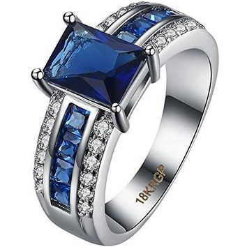 AWLY Jewelry Womens 18K White Gold Plated Square Cushion Cut Sapphire Blue CZ Half Eternity Wedding Ring