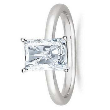 1/2 - 2 Carat GIA Certified 14K White Gold Solitaire Radiant Cut Diamond Engagement Ring (D-E Color, VS1-VS2 Clarity)