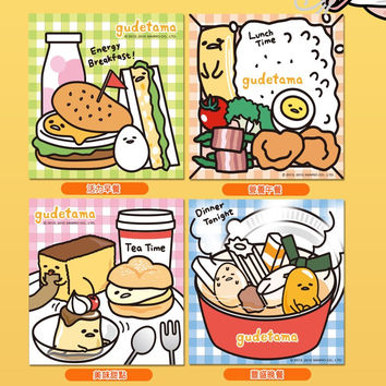 "Sanrio Gudetama 7-11 Limited 4"" 4 Type Magnet & Ceramics Coasters Set"