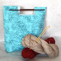 Women's Chopstick Purse in shades of blue 11x13 100% cotton