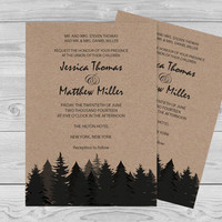 Winter Rustic Wedding Invitation Template - Pine Trees on Kraft Paper - Printable Invitation Editable PDF Template Download - DIY Print You