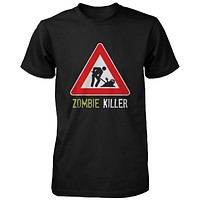 Zombie Killer Warning Sign Men's Shirt Funny Horror Halloween Black T-shirt