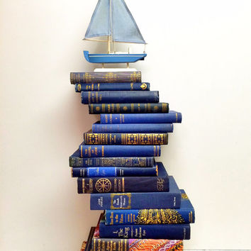 Navy and Gold Books,Nautical,Book Lot,17 Books,Fall Pantone,Book Theme Wedding,Ornate Blue,Royal Blue,Book Collection,Photo Prop,Kids room
