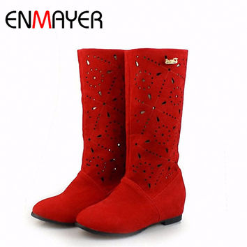 ENMAYER Summer Knee Boots Flats Hollow Hole Shoes Black Red Slip-on Motorcycle Boots Round Toe Shoes Women Large Size 34-43