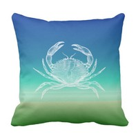 Crab Blue Green Seascape Pillow