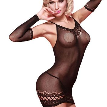 Black Sheer Mesh Chemise with Arm Sleeves