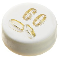 60th Wedding Anniversary Gold White Cookie