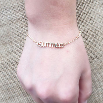 Beautiful Gold Filled SUMMER Charm Bracelet! Perfect for any outfit! Great for present!
