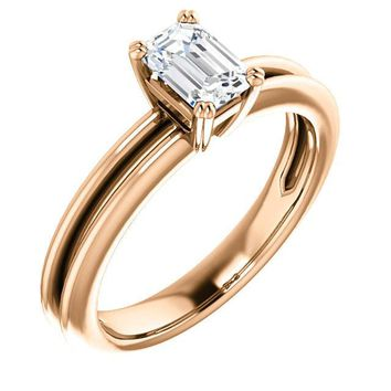 0.75 Ct Emerald Solitaire Diamond Engagement Ring 14k Rose Gold