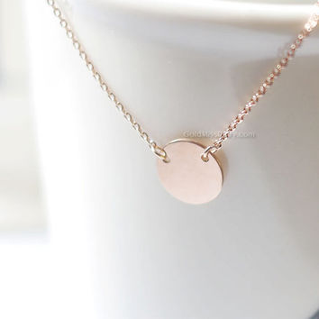 Suspended Rose Gold disk Necklace circle / Delicate Personalized Jewelry / Subtle Monogram Necklace Disc / Rose Gold Filled Initial Necklace