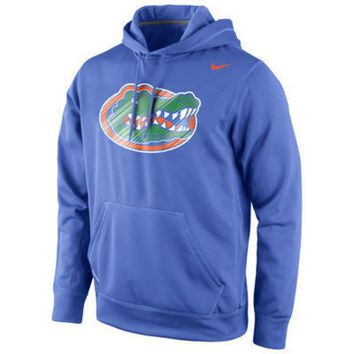 DCCKG8Q NCAA Florida Gators Kids Nike Warp Logo Therma FIT Hoodie  Royal Blue
