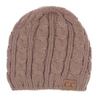 C.C. Beanie Cable Knit Fitted Beanie in Taupe YJ31A-TP