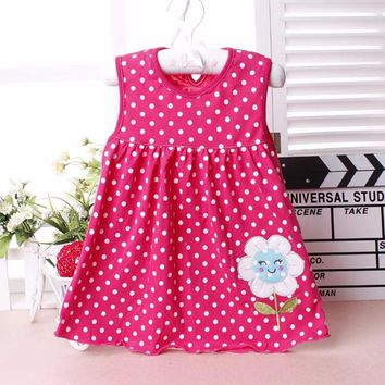 FHADST Cute Baby Girls Vestido infantil Dress Cotton Regular Bow Sleeveless Character Dresses Casual Clothing Princess 1-3 Year